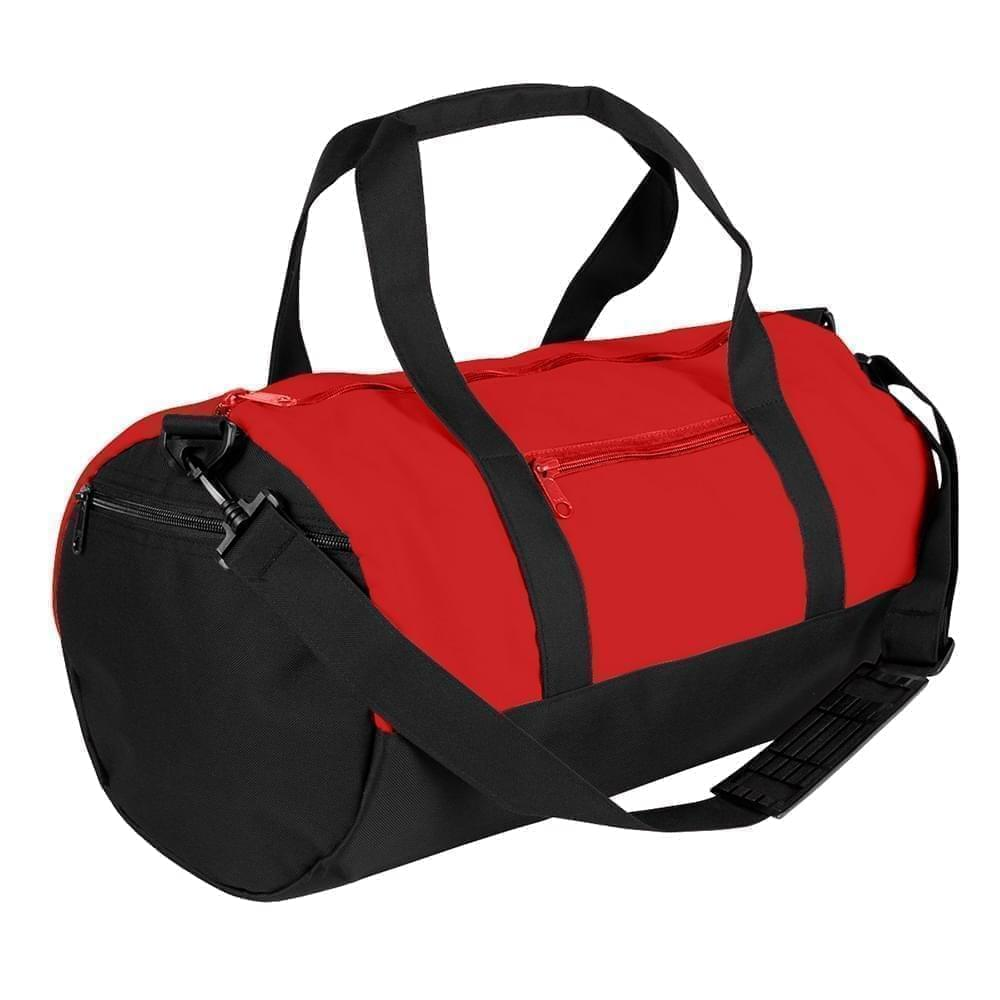 USA Made Nylon Poly Athletic Barrel Bags, Red-Black, PMLXZ2AAZC
