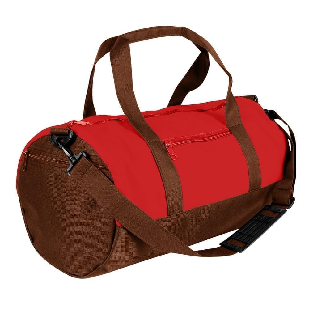 USA Made Nylon Poly Athletic Barrel Bags, Red-Brown, PMLXZ2AAZD