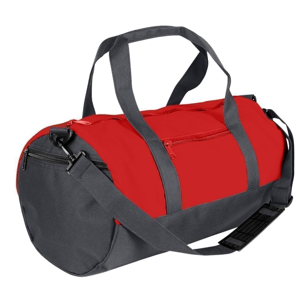 USA Made Nylon Poly Athletic Barrel Bags, Red-Graphite, PMLXZ2AAZF
