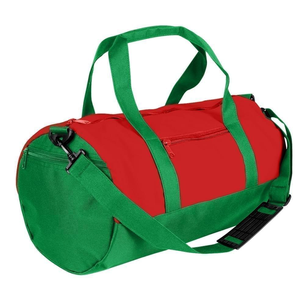 USA Made Nylon Poly Athletic Barrel Bags, Red-Kelly Green, PMLXZ2AAZH