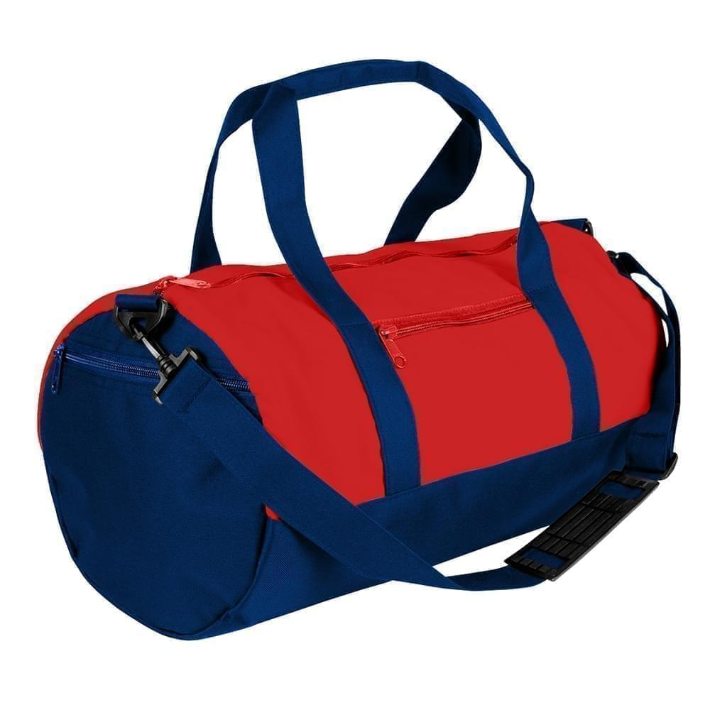 USA Made Nylon Poly Athletic Barrel Bags, Red-Navy, PMLXZ2AAZI