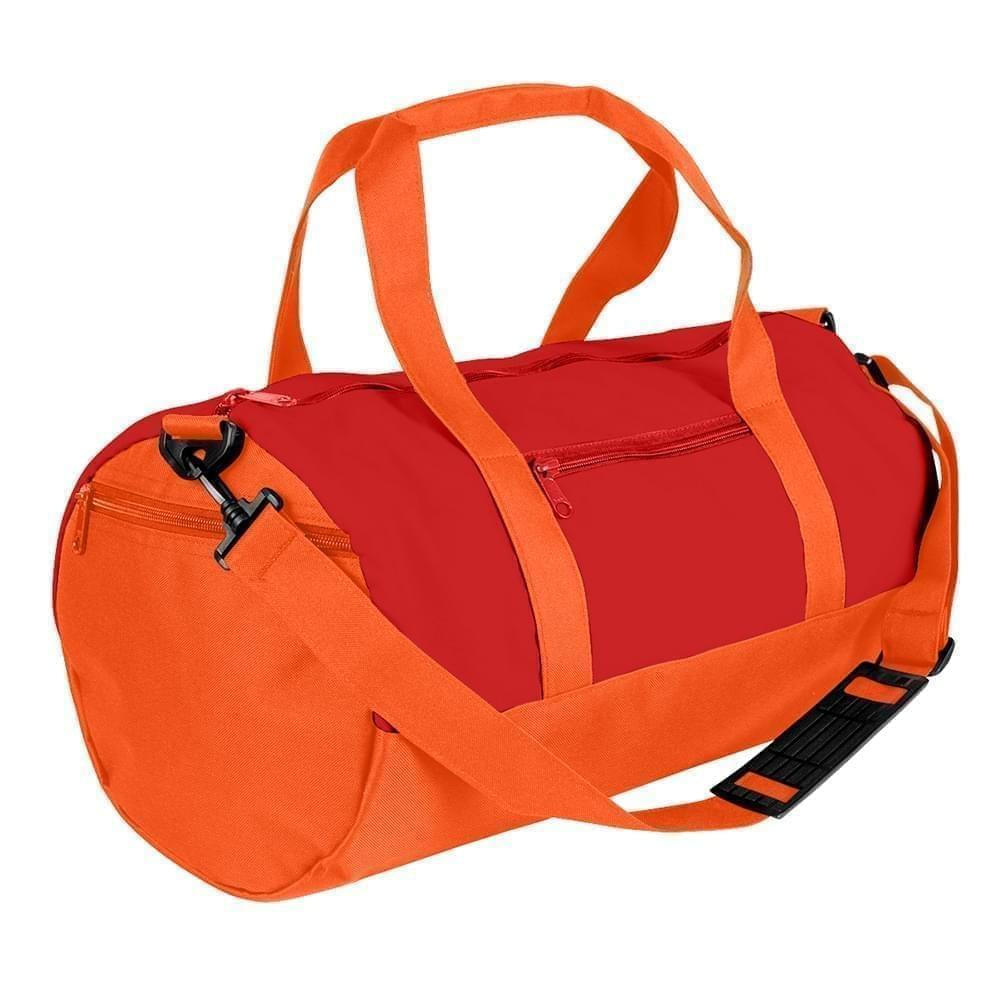 USA Made Nylon Poly Athletic Barrel Bags, Red-Orange, PMLXZ2AAZJ
