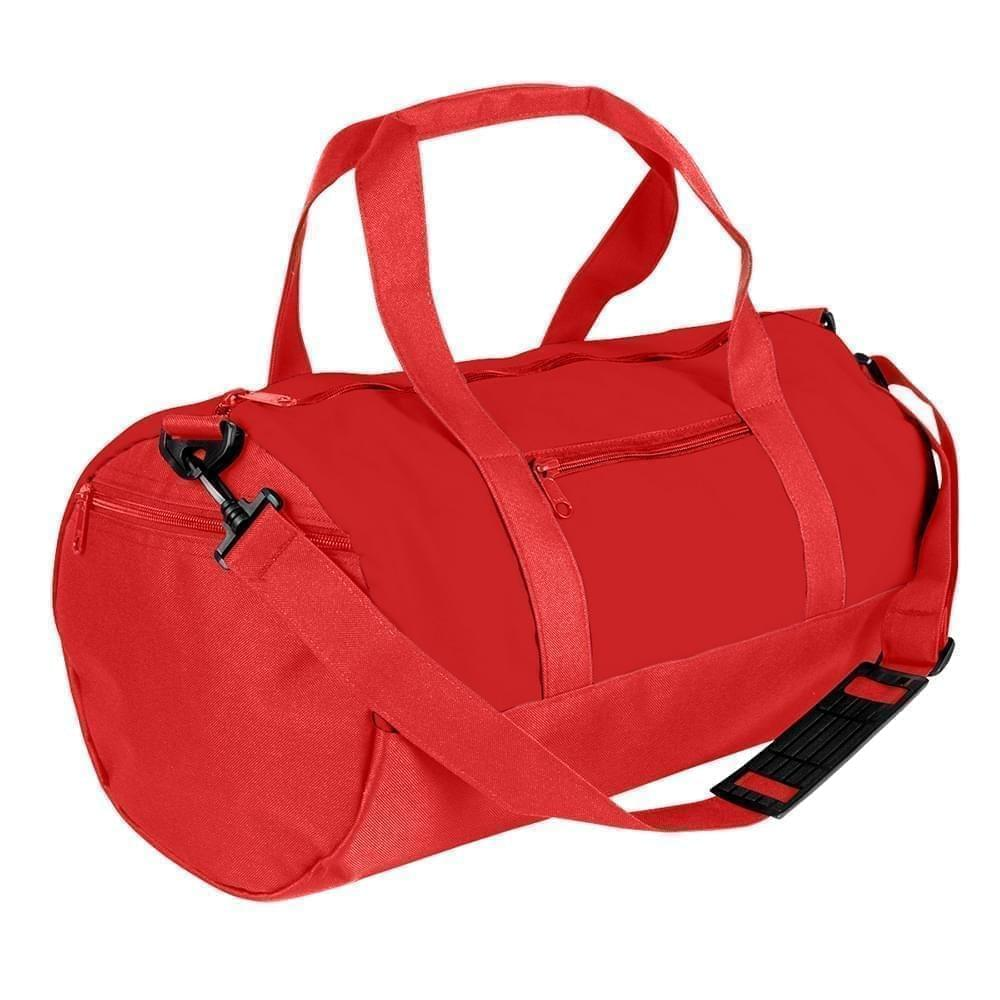 USA Made Nylon Poly Athletic Barrel Bags, Red-Red, PMLXZ2AAZL