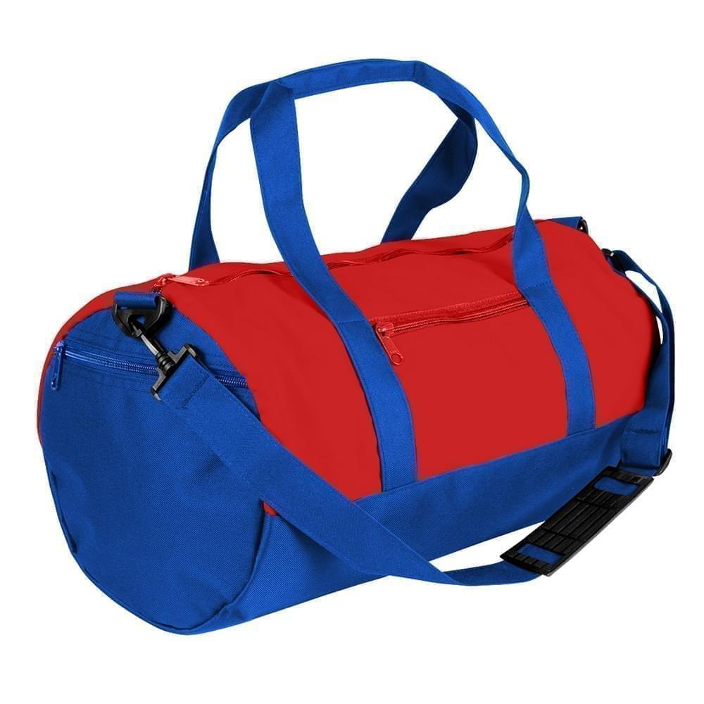USA Made Nylon Poly Athletic Barrel Bags, Red-Royal Blue, PMLXZ2AAZM