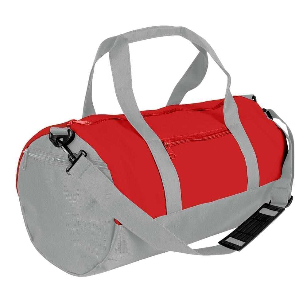 USA Made Nylon Poly Athletic Barrel Bags, Red-Grey, PMLXZ2AAZN