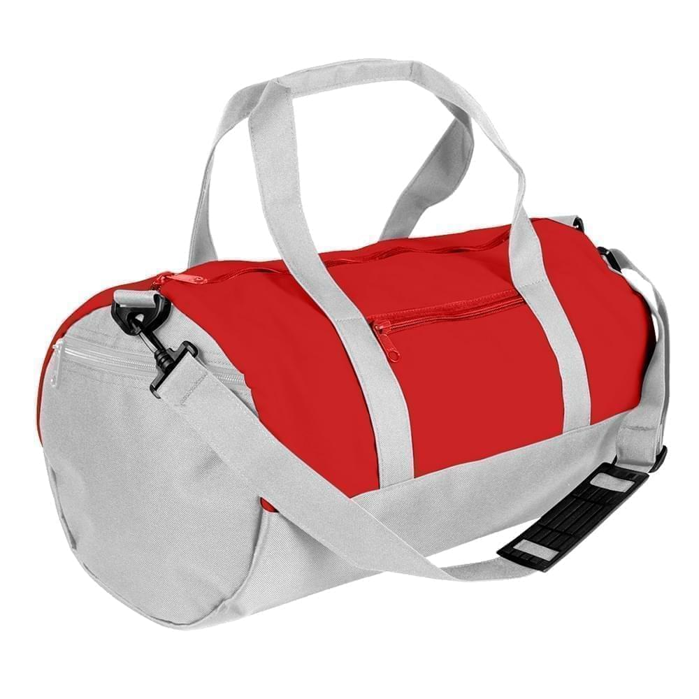 USA Made Nylon Poly Athletic Barrel Bags, Red-White, PMLXZ2AAZP