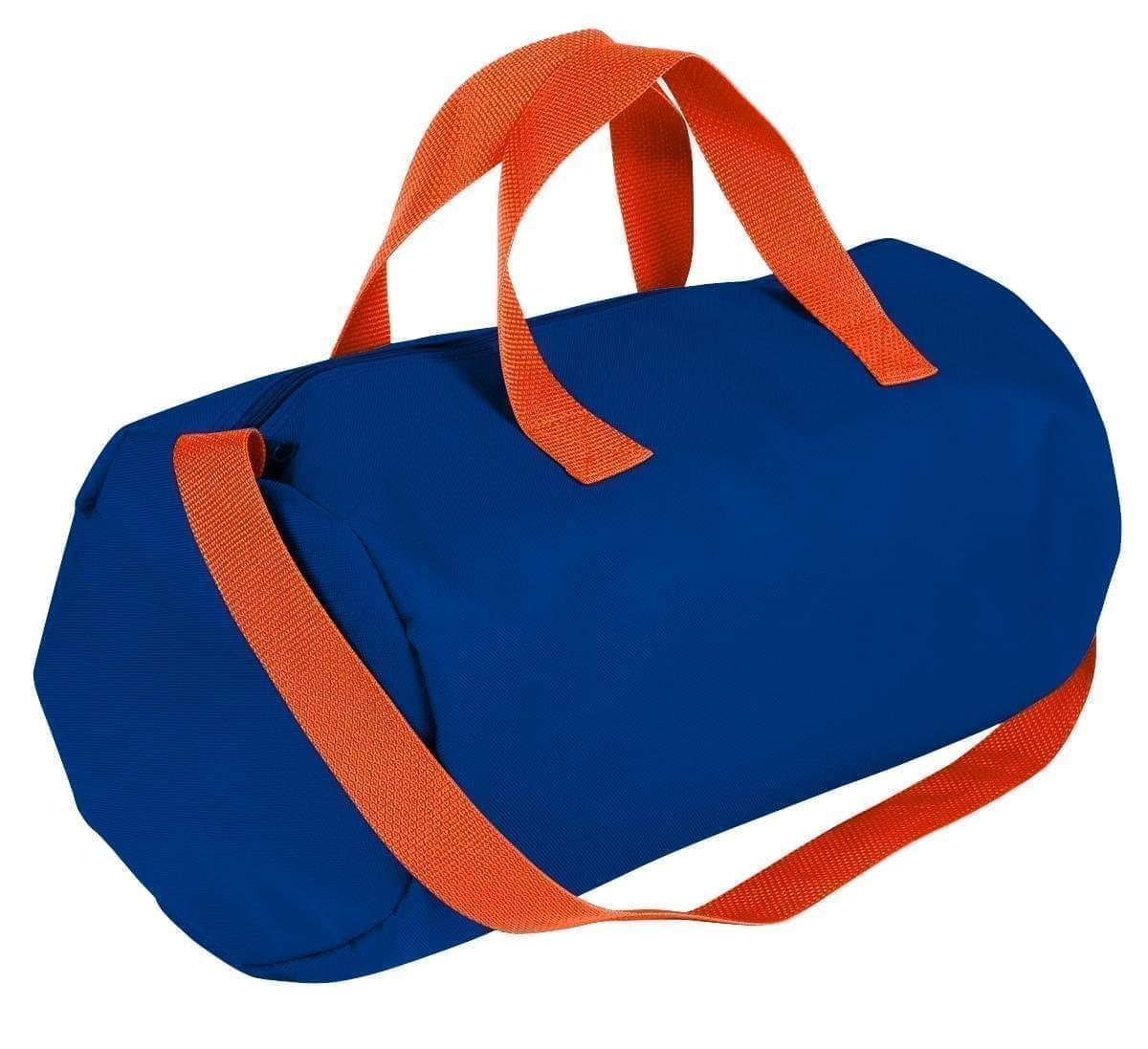 USA Made Nylon Poly Gym Roll Bags, Royal Blue-Orange, ROCX31AA00