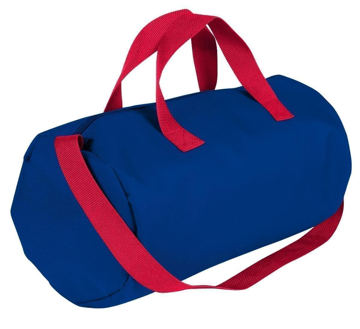 USA Made Nylon Poly Gym Roll Bags, Royal Blue-Red, ROCX31AA02