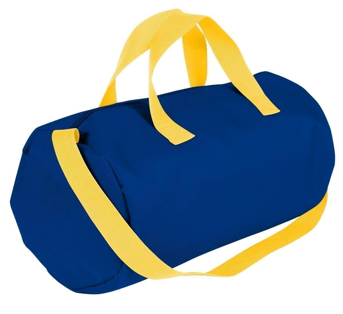 USA Made Nylon Poly Gym Roll Bags, Royal Blue-Gold, ROCX31AA05