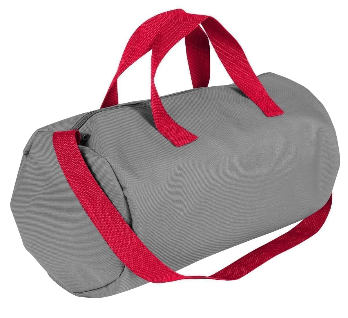 USA Made Nylon Poly Gym Roll Bags, Grey-Red, ROCX31AA12