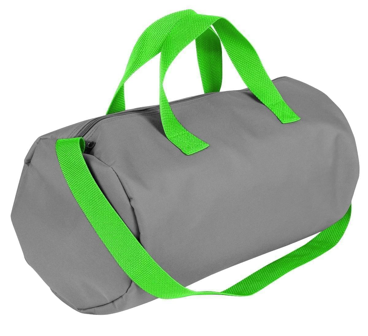 USA Made Nylon Poly Gym Roll Bags, Grey-Lime, ROCX31AA1Y