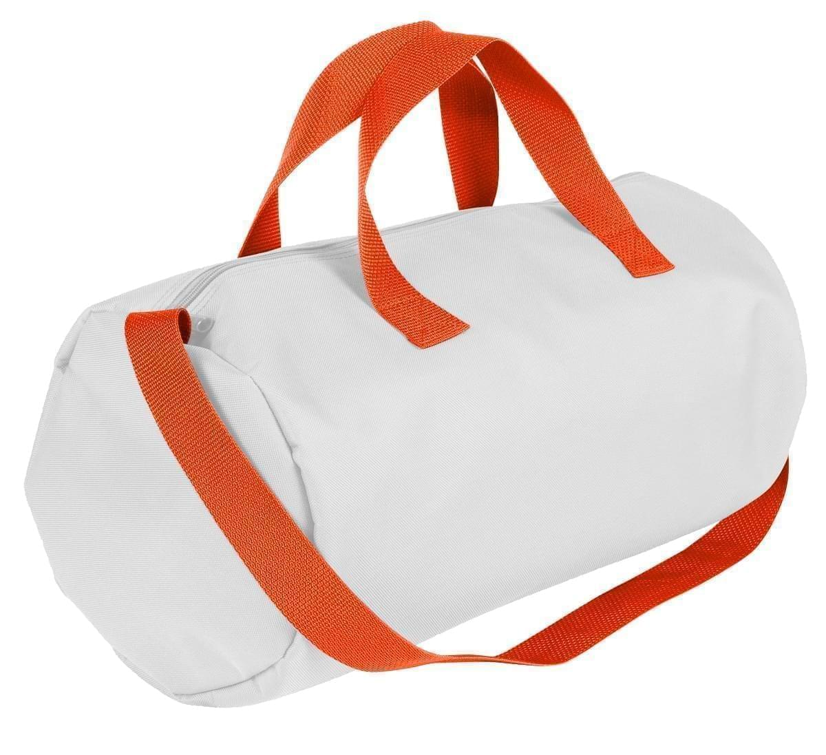 USA Made Nylon Poly Gym Roll Bags, White-Orange, ROCX31AA30