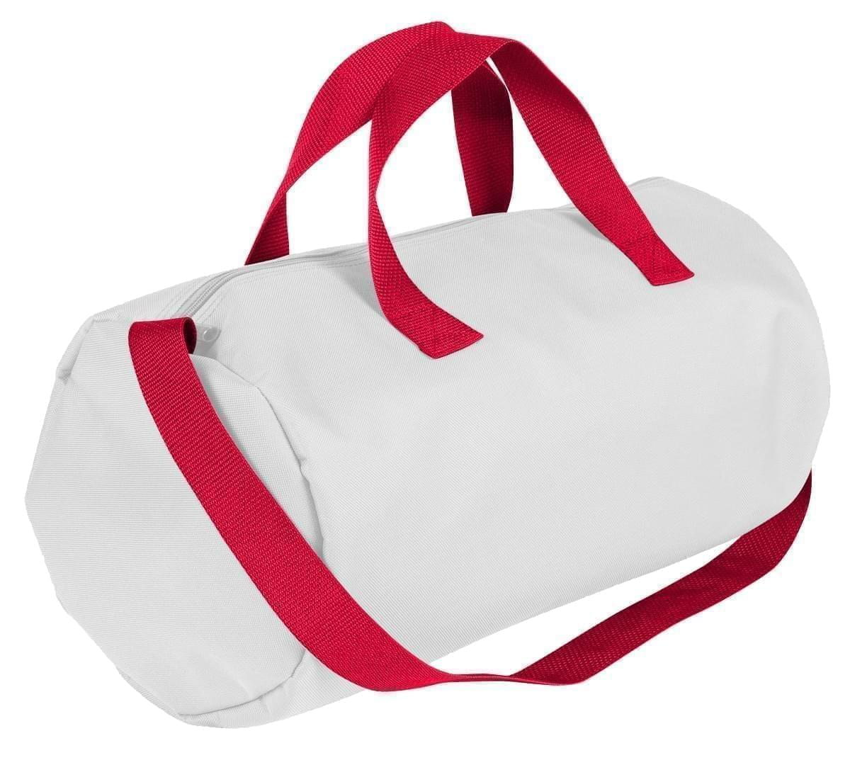 USA Made Nylon Poly Gym Roll Bags, White-Red, ROCX31AA32