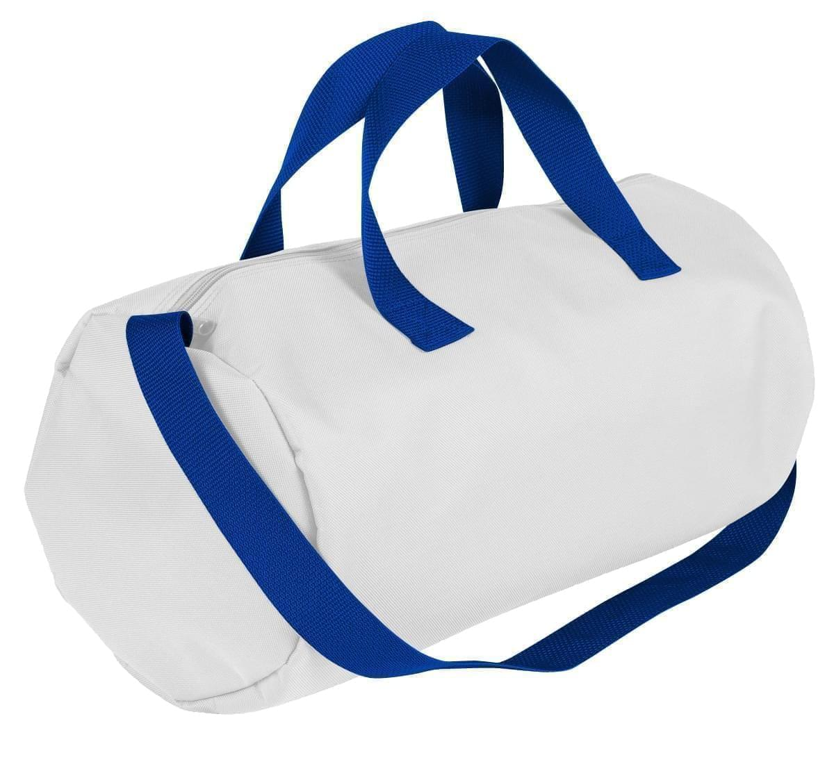 USA Made Nylon Poly Gym Roll Bags, White-Royal Blue, ROCX31AA33