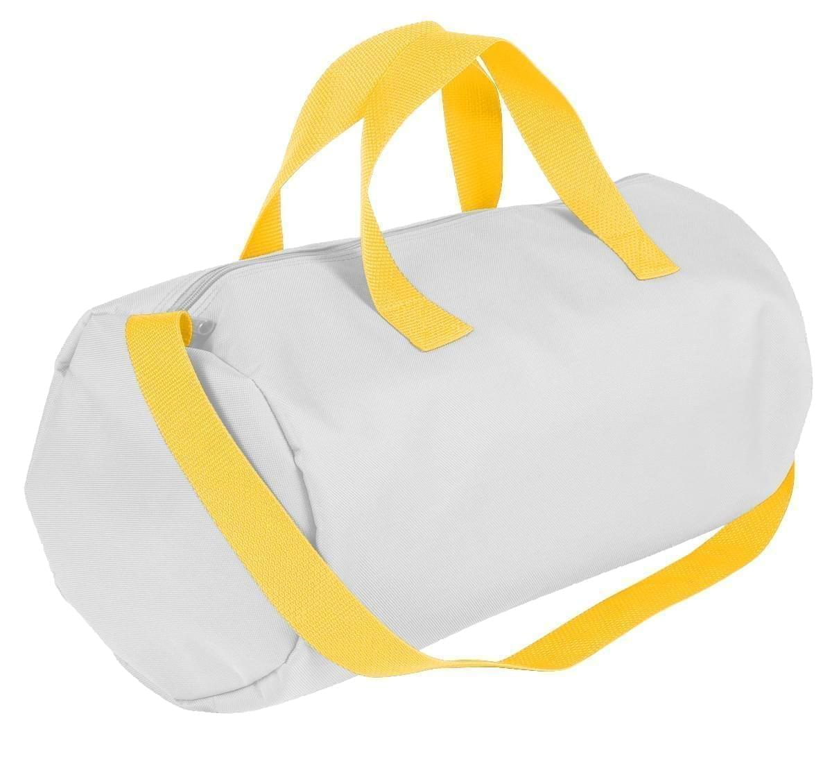 USA Made Nylon Poly Gym Roll Bags, White-Gold, ROCX31AA35