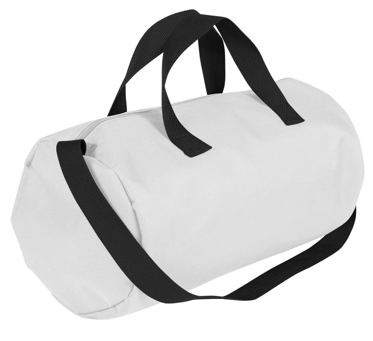 USA Made Nylon Poly Gym Roll Bags, White-Black, ROCX31AA3R