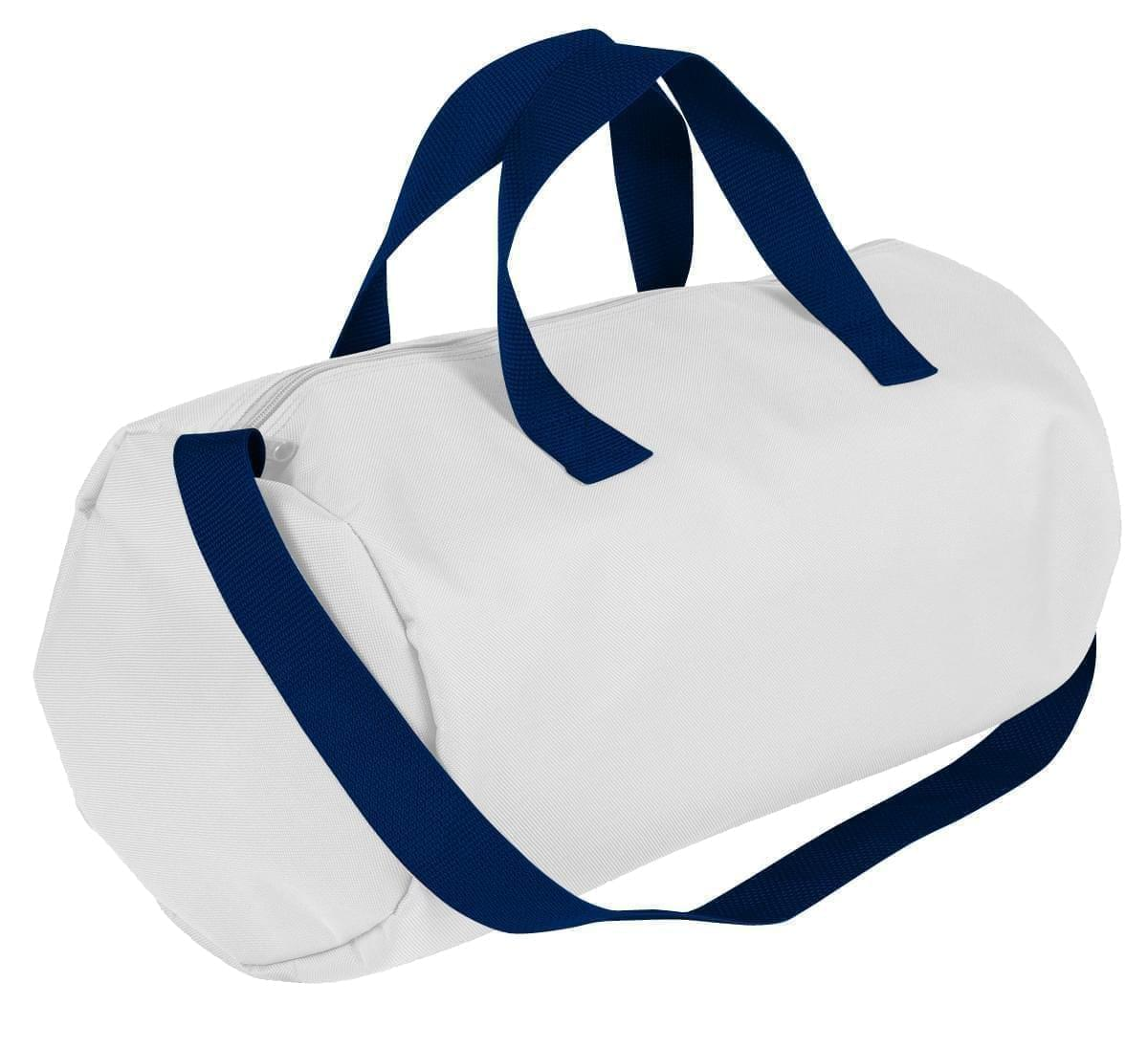 USA Made Nylon Poly Gym Roll Bags, White-Navy, ROCX31AA3Z