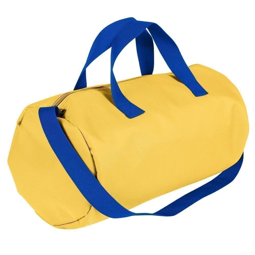 USA Made Nylon Poly Gym Roll Bags, Gold-Royal Blue, ROCX31AA43