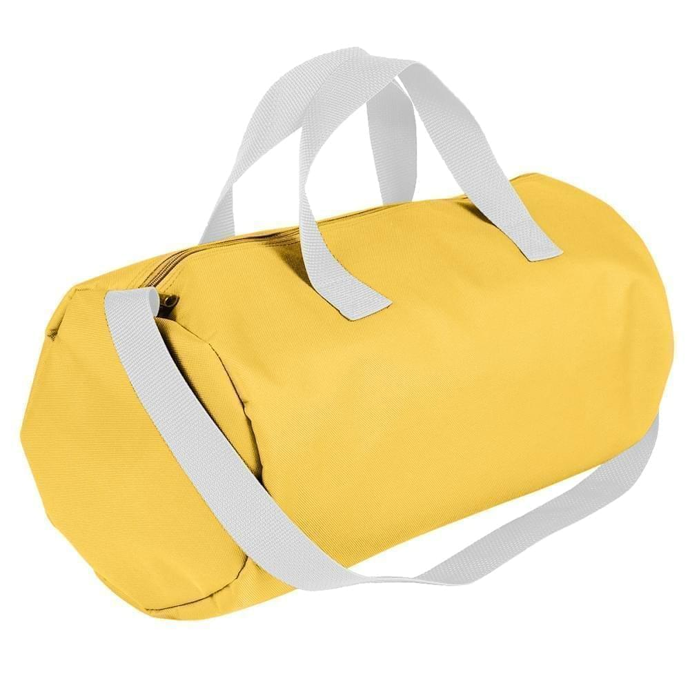 USA Made Nylon Poly Gym Roll Bags, Gold-White, ROCX31AA44