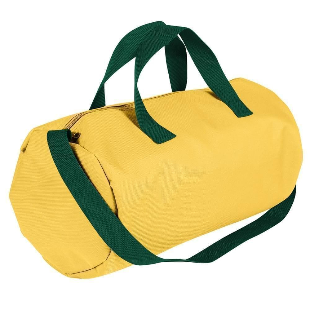 USA Made Nylon Poly Gym Roll Bags, Gold-Hunter Green, ROCX31AA4V