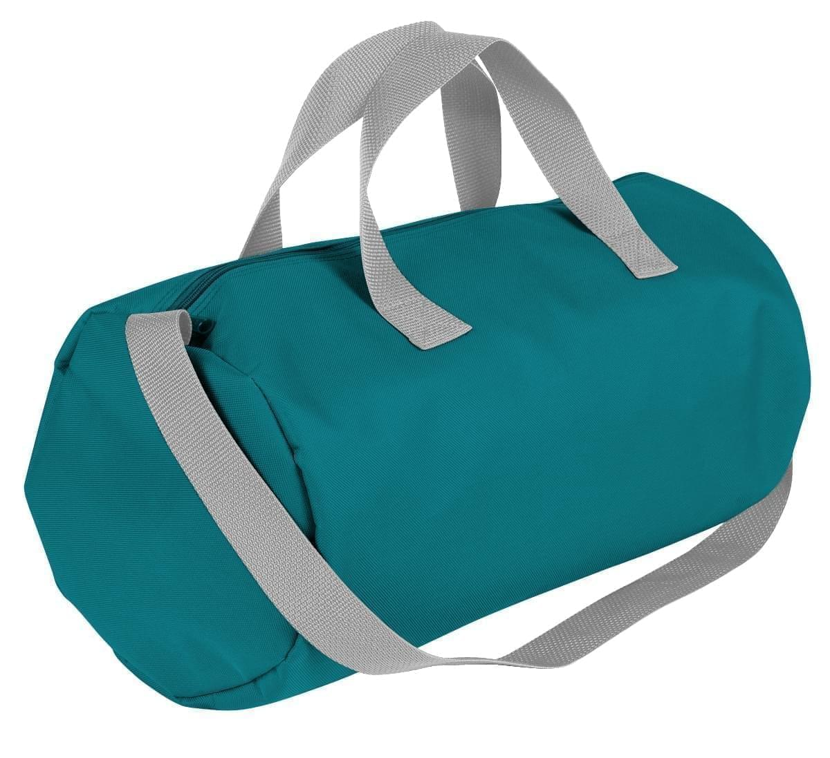 USA Made Nylon Poly Gym Roll Bags, Turquoise-Grey, ROCX31AA9U