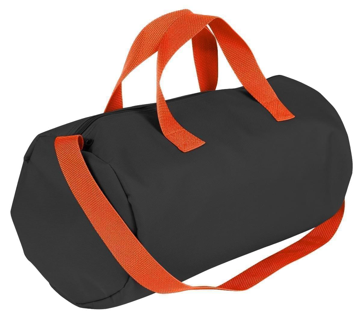 USA Made Nylon Poly Gym Roll Bags, Black-Orange, ROCX31AAO0