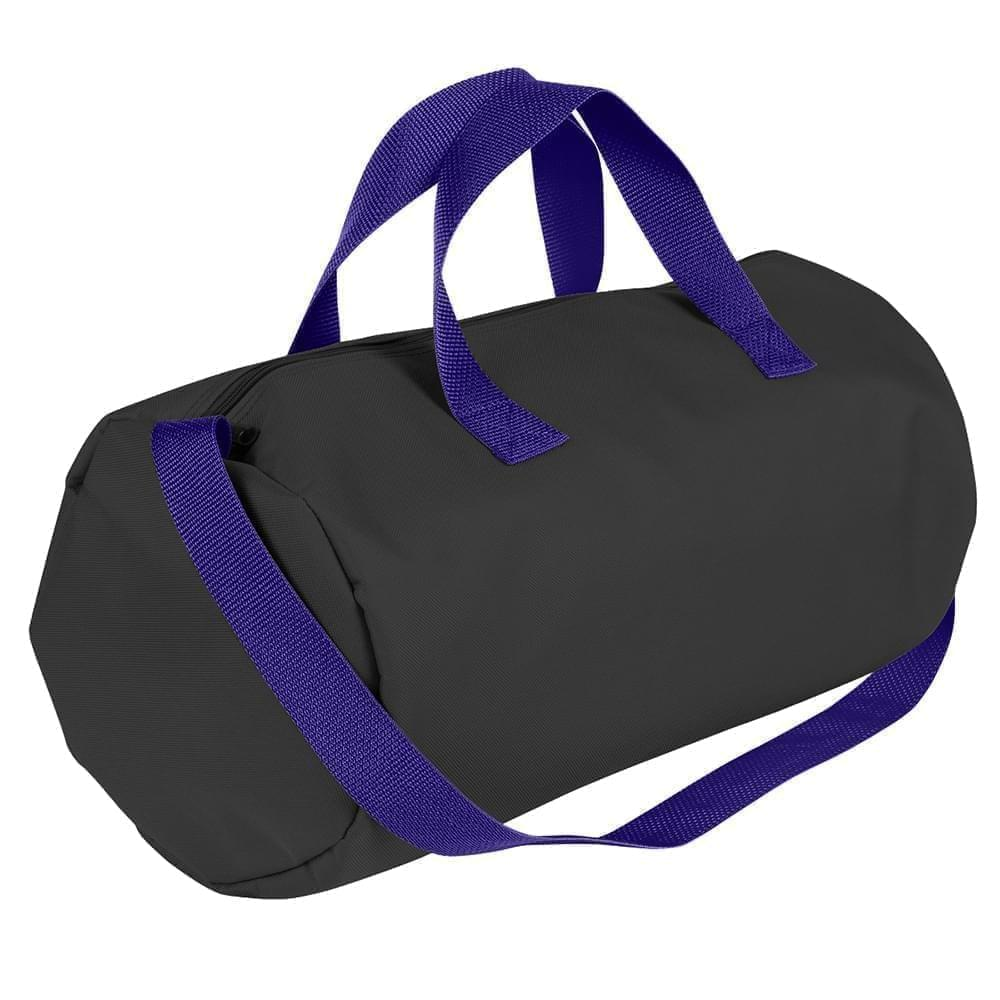 USA Made Nylon Poly Gym Roll Bags, Black-Purple, ROCX31AAO1