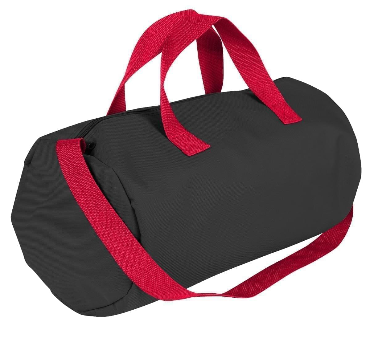 USA Made Nylon Poly Gym Roll Bags, Black-Red, ROCX31AAO2