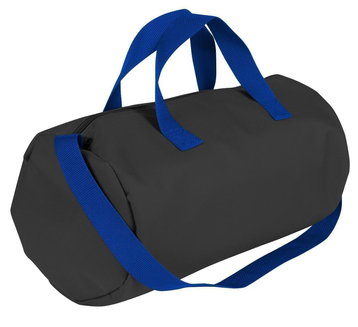 USA Made Nylon Poly Gym Roll Bags, Black-Royal Blue, ROCX31AAO3
