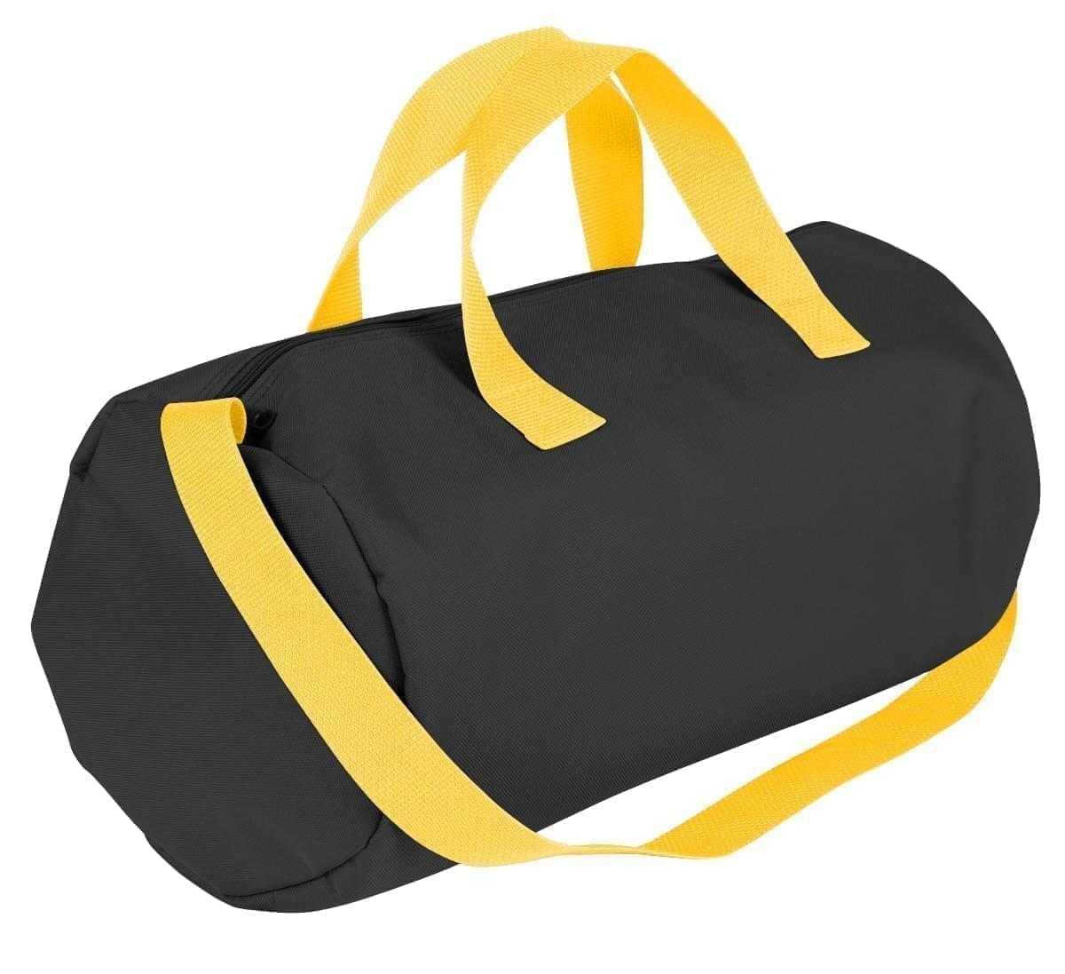 USA Made Nylon Poly Gym Roll Bags, Black-Gold, ROCX31AAO5