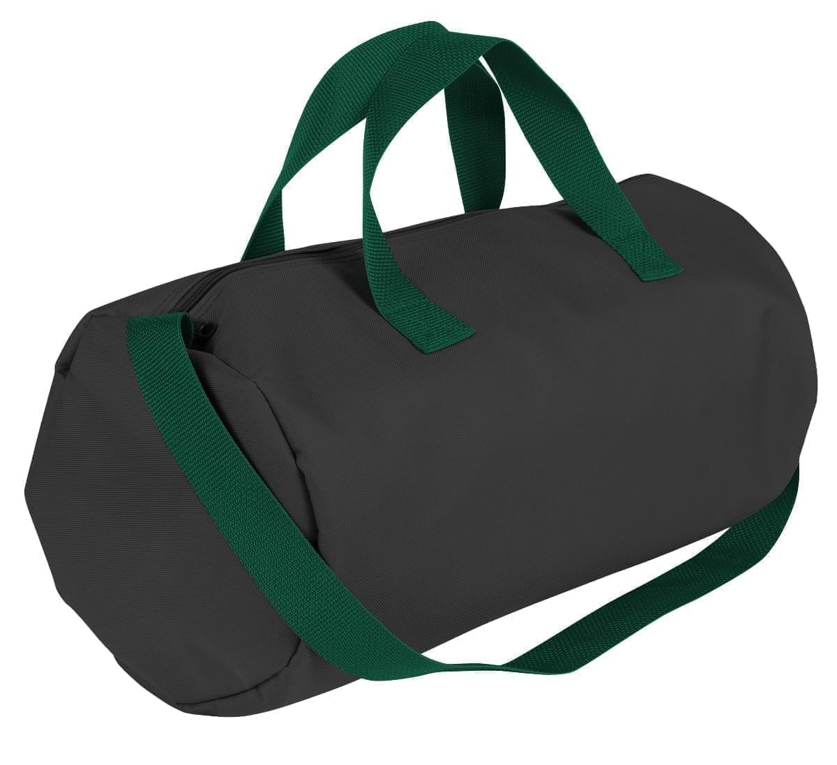 USA Made Nylon Poly Gym Roll Bags, Black-Hunter Green, ROCX31AAOV