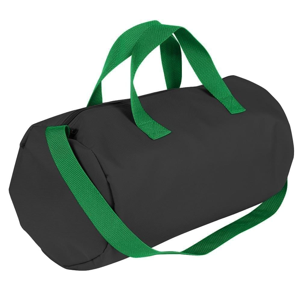 USA Made Nylon Poly Gym Roll Bags, Black-Kelly Green, ROCX31AAOW