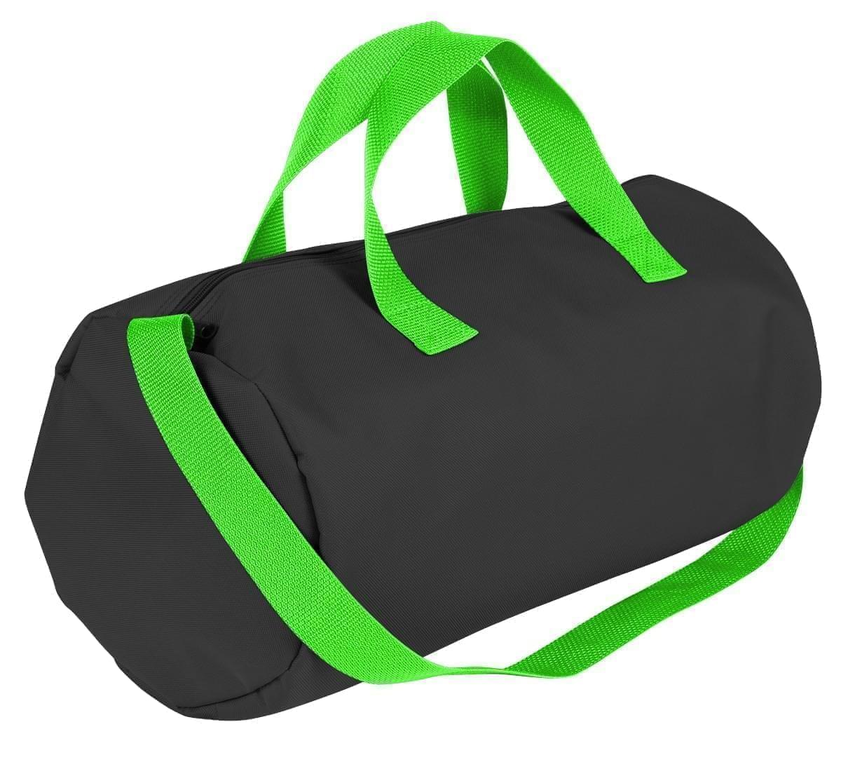 USA Made Nylon Poly Gym Roll Bags, Black-Lime, ROCX31AAOY