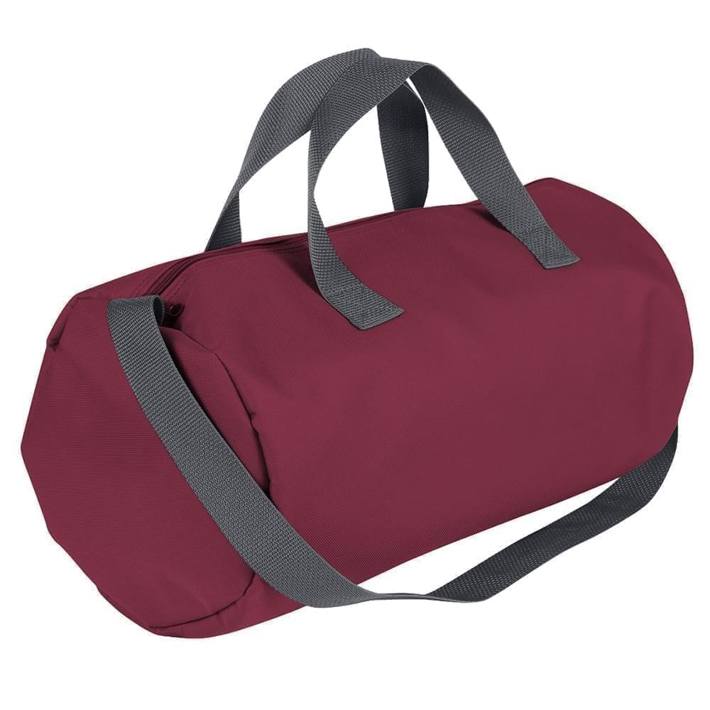 USA Made Nylon Poly Gym Roll Bags, Burgundy-Graphite, ROCX31AAQT