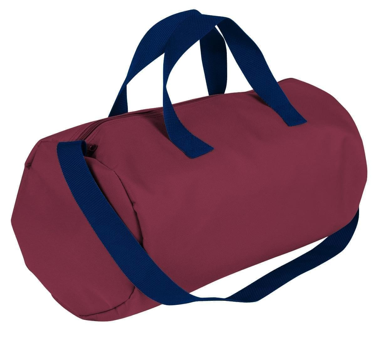 USA Made Nylon Poly Gym Roll Bags, Burgundy-Navy, ROCX31AAQZ