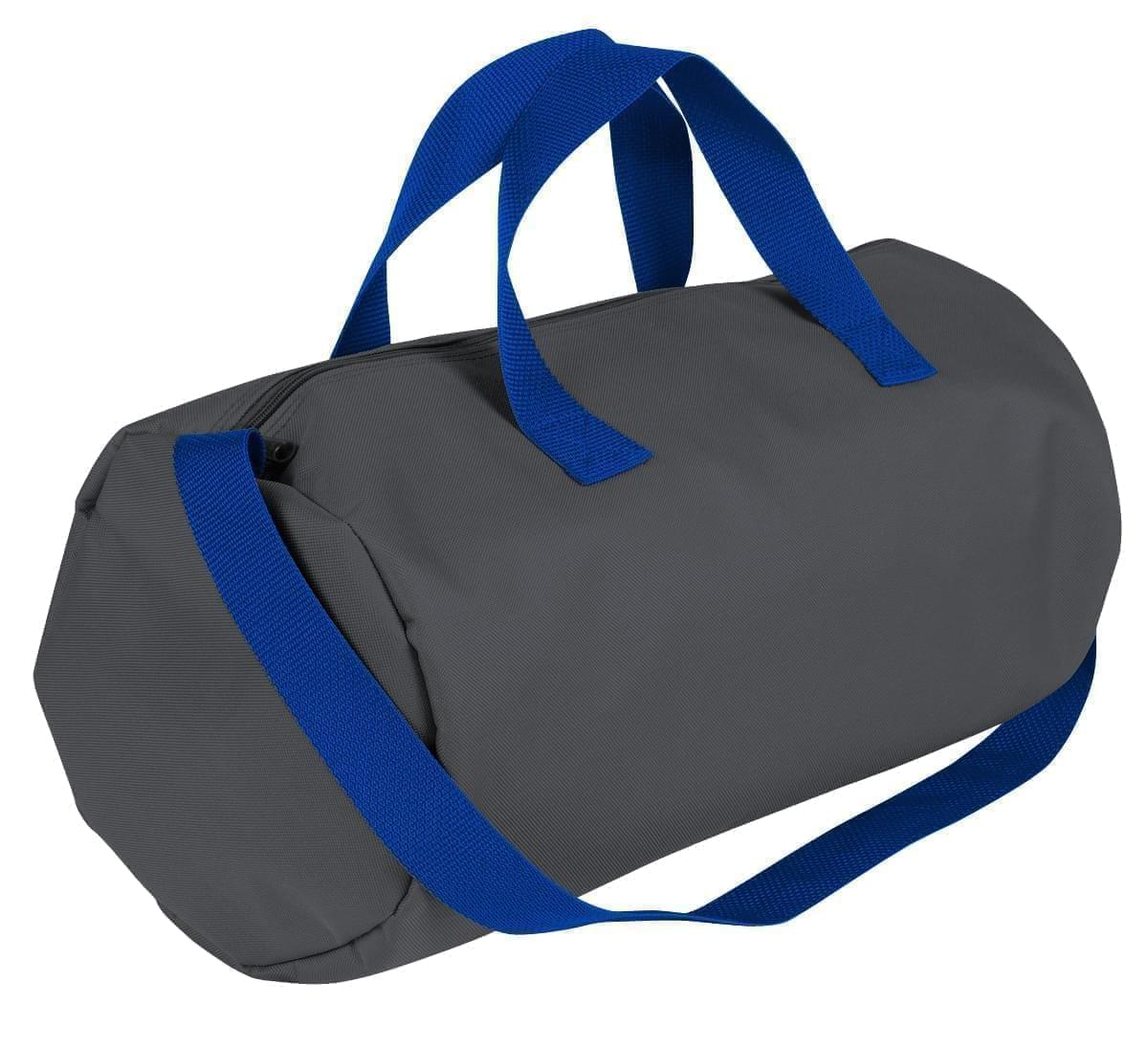 USA Made Nylon Poly Gym Roll Bags, Graphite-Royal Blue, ROCX31AAR3
