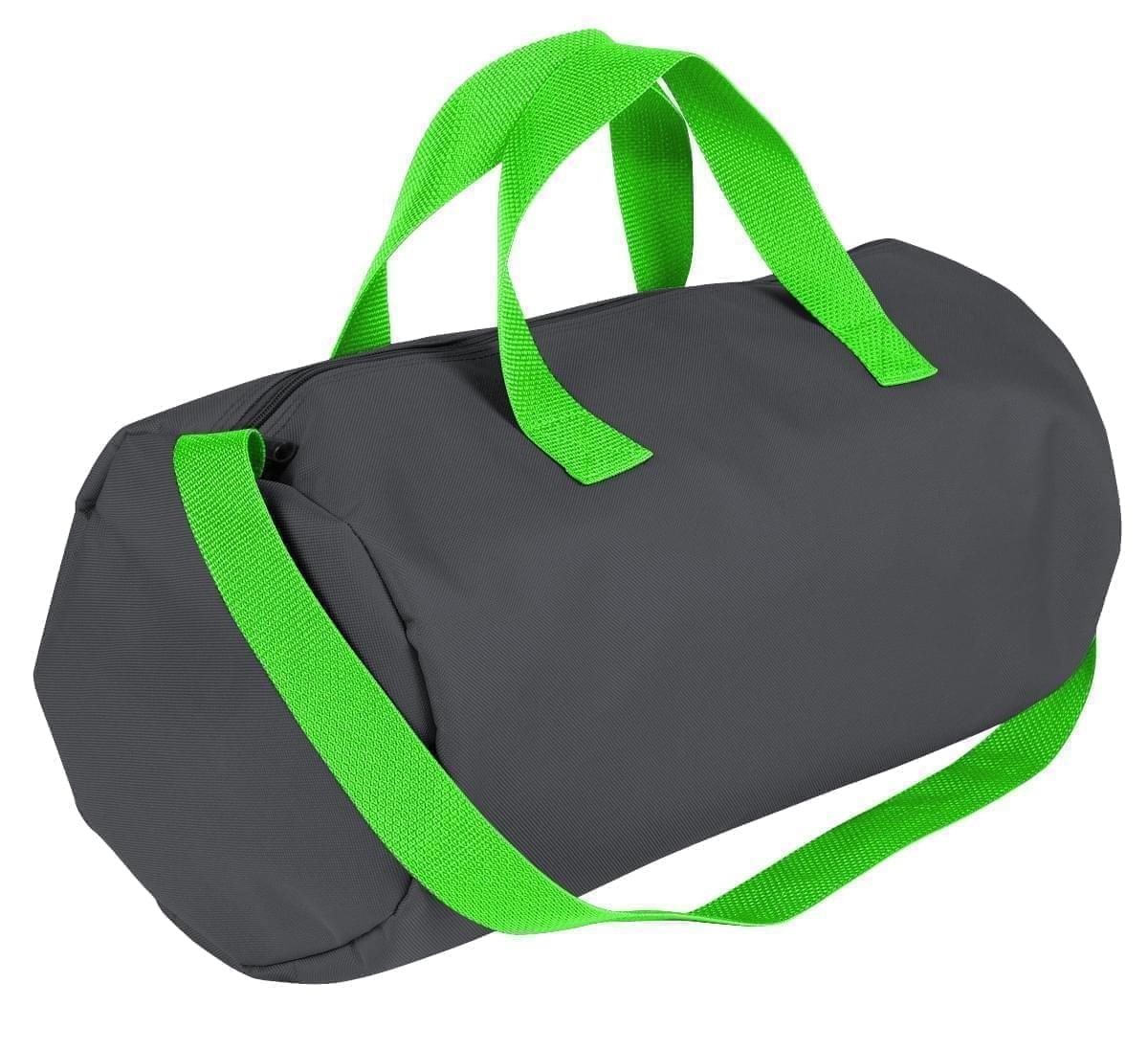 USA Made Nylon Poly Gym Roll Bags, Graphite-Lime, ROCX31AARY