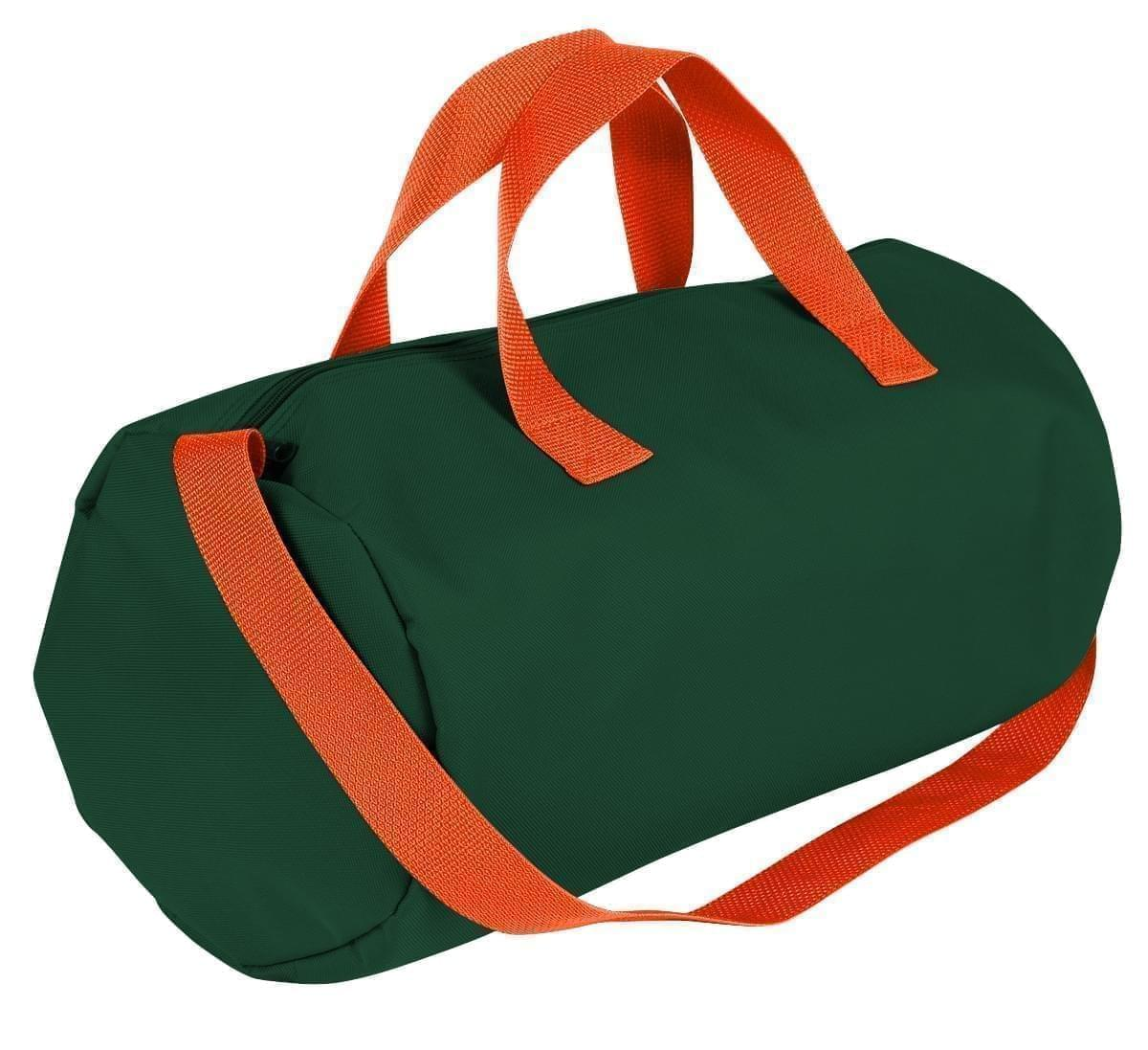 USA Made Nylon Poly Gym Roll Bags, Hunter Green-Orange, ROCX31AAS0