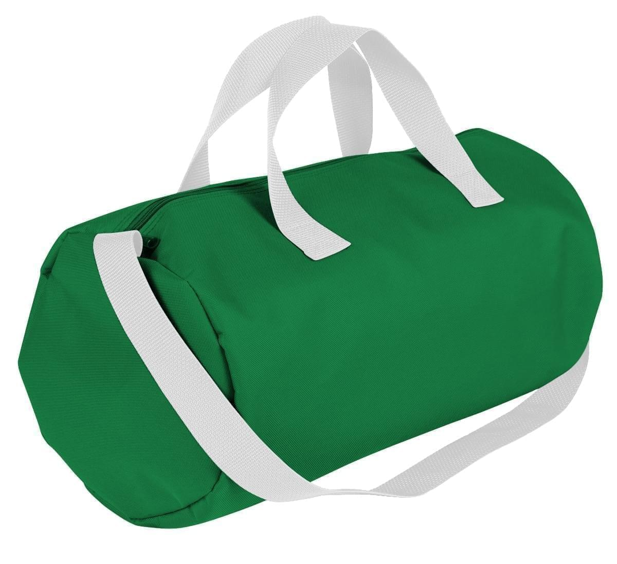 USA Made Nylon Poly Gym Roll Bags, Kelly Green-White, ROCX31AAT4