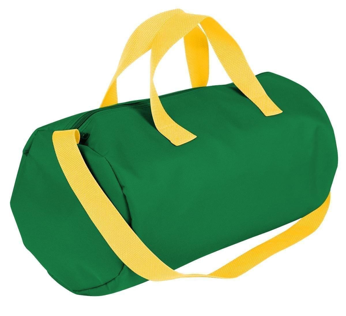 USA Made Nylon Poly Gym Roll Bags, Kelly Green-Gold, ROCX31AAT5