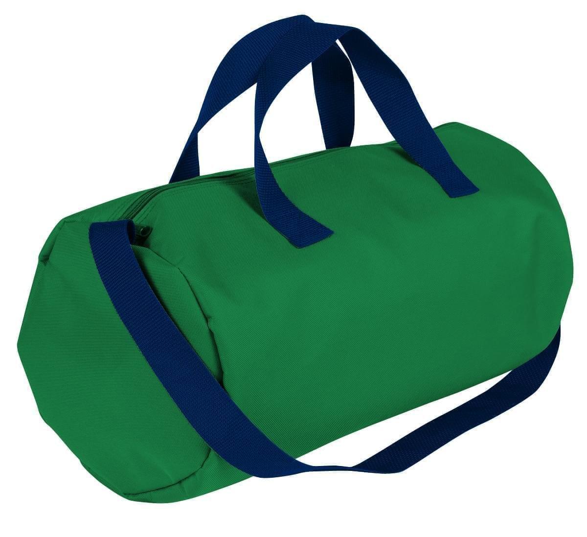 USA Made Nylon Poly Gym Roll Bags, Kelly Green-Navy, ROCX31AATZ