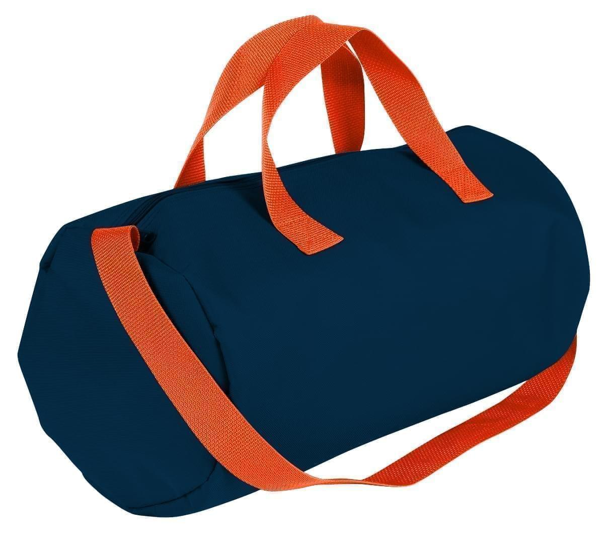 USA Made Nylon Poly Gym Roll Bags, Navy-Orange, ROCX31AAW0