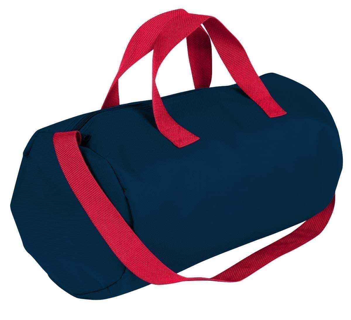 USA Made Nylon Poly Gym Roll Bags, Navy-Red, ROCX31AAW2