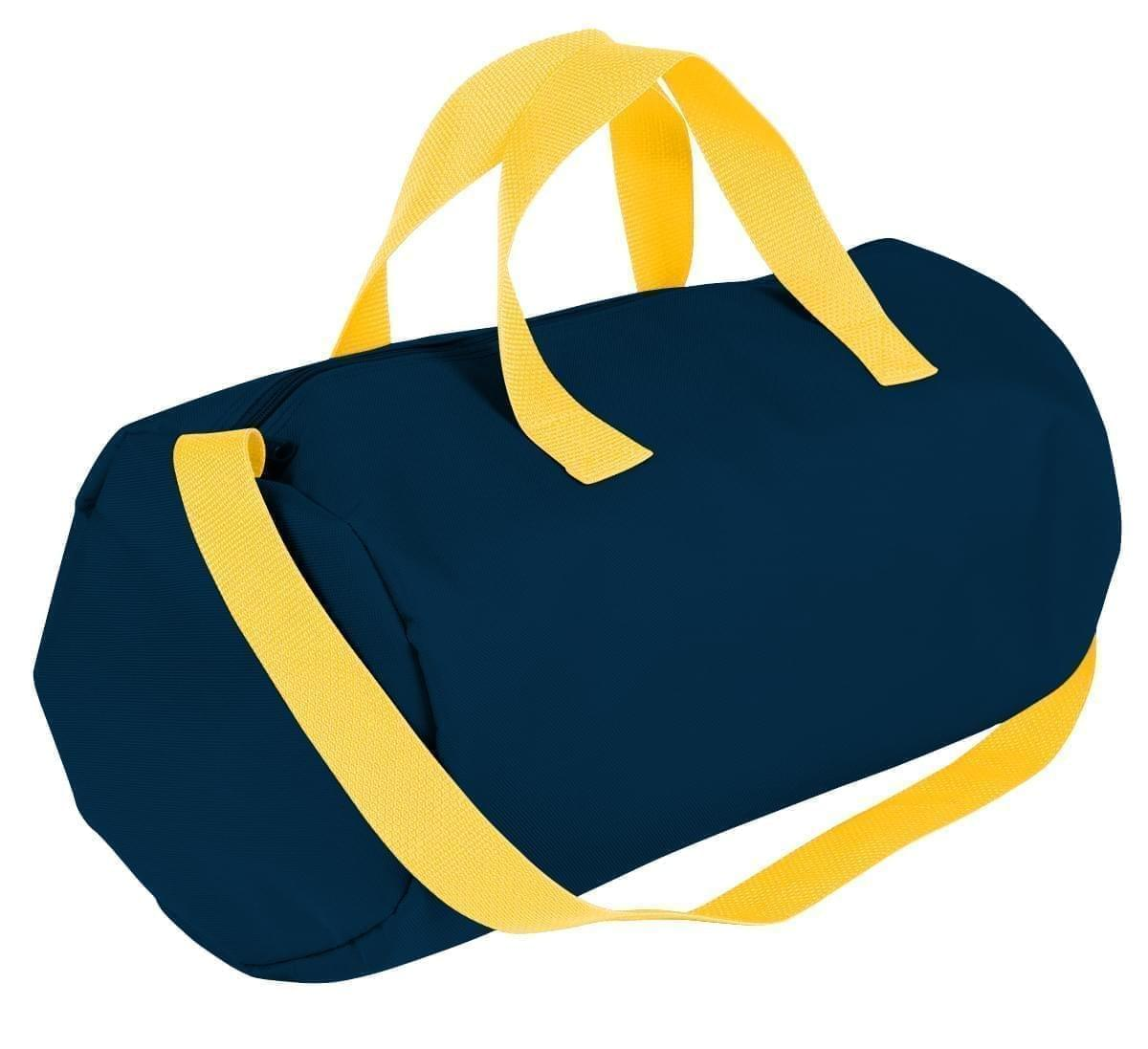 USA Made Nylon Poly Gym Roll Bags, Navy-Gold, ROCX31AAW5