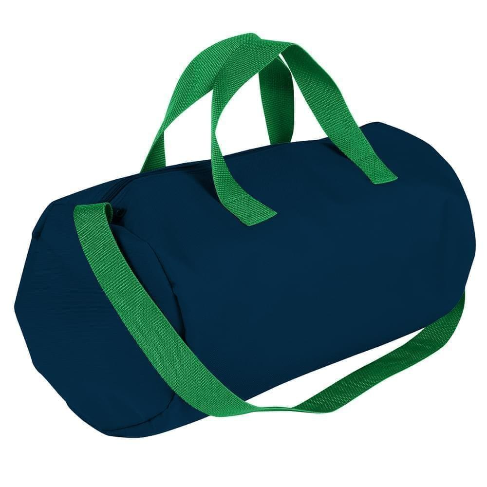 USA Made Nylon Poly Gym Roll Bags, Navy-Kelly Green, ROCX31AAWW