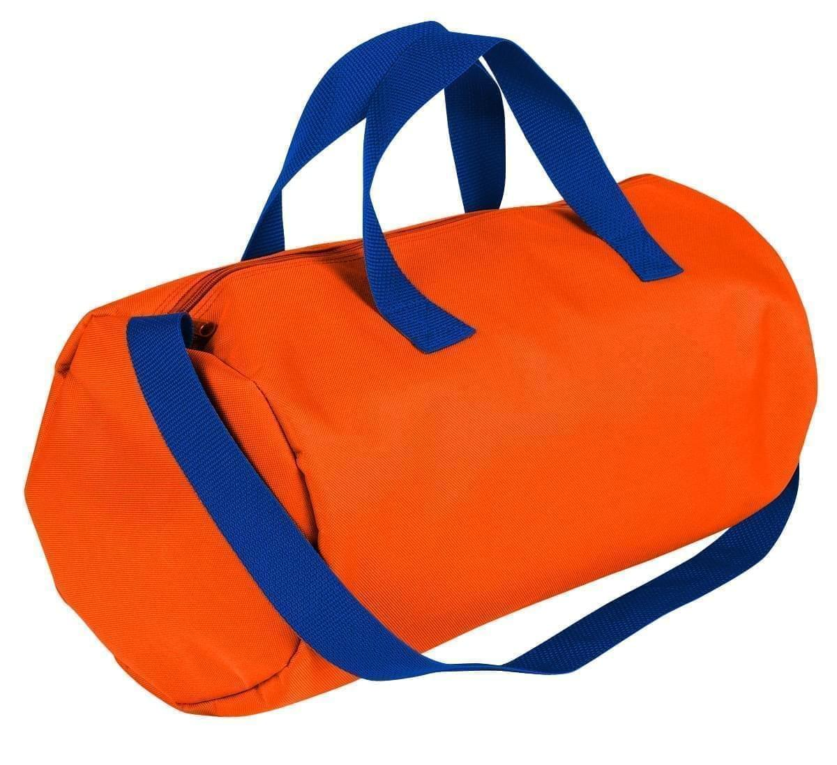 USA Made Nylon Poly Gym Roll Bags, Orange-Royal Blue, ROCX31AAX3