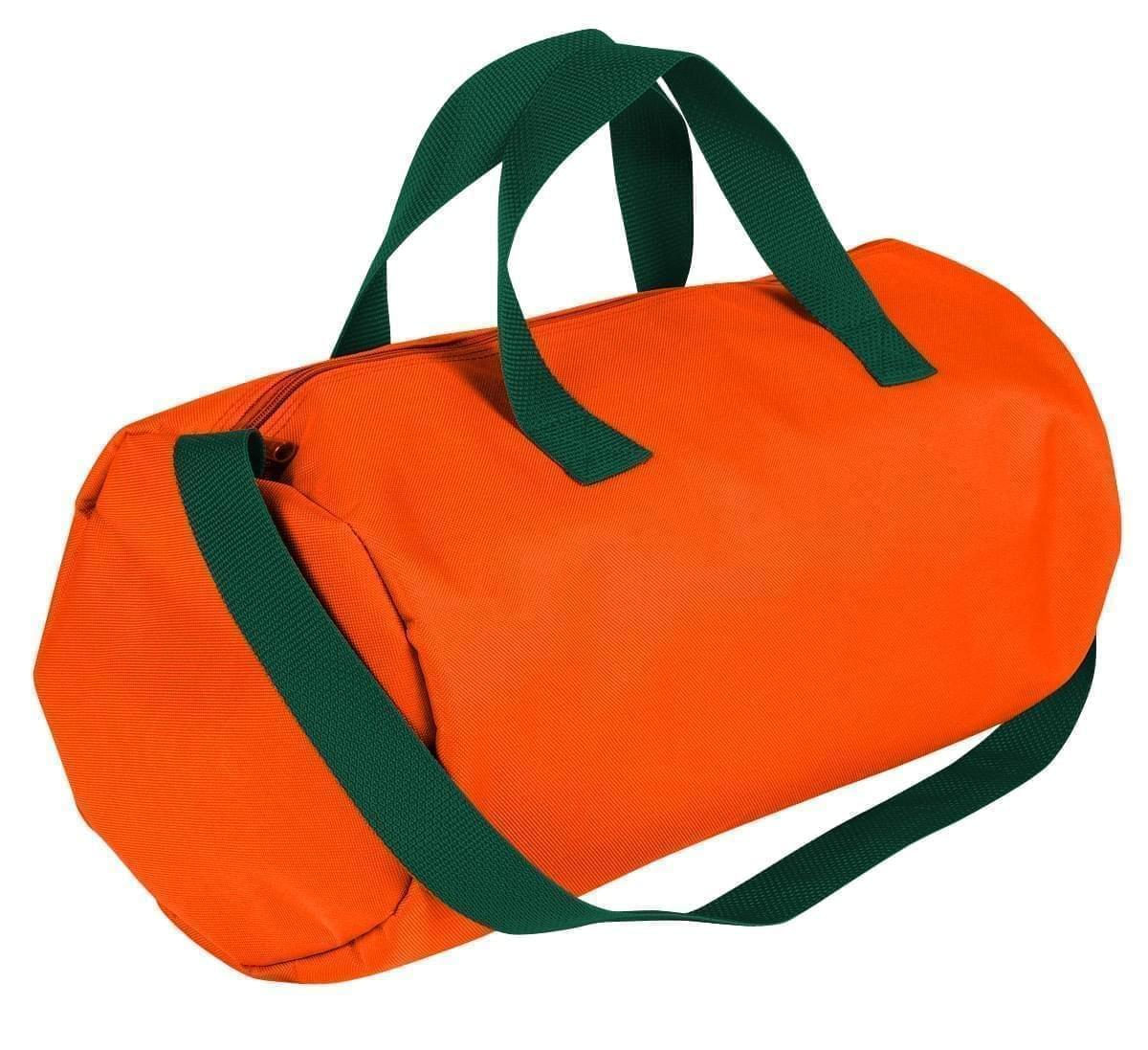 USA Made Nylon Poly Gym Roll Bags, Orange-Hunter Green, ROCX31AAXV