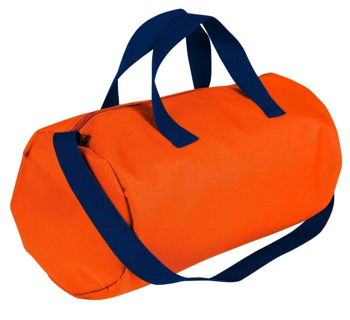 USA Made Nylon Poly Gym Roll Bags, Orange-Navy, ROCX31AAXZ