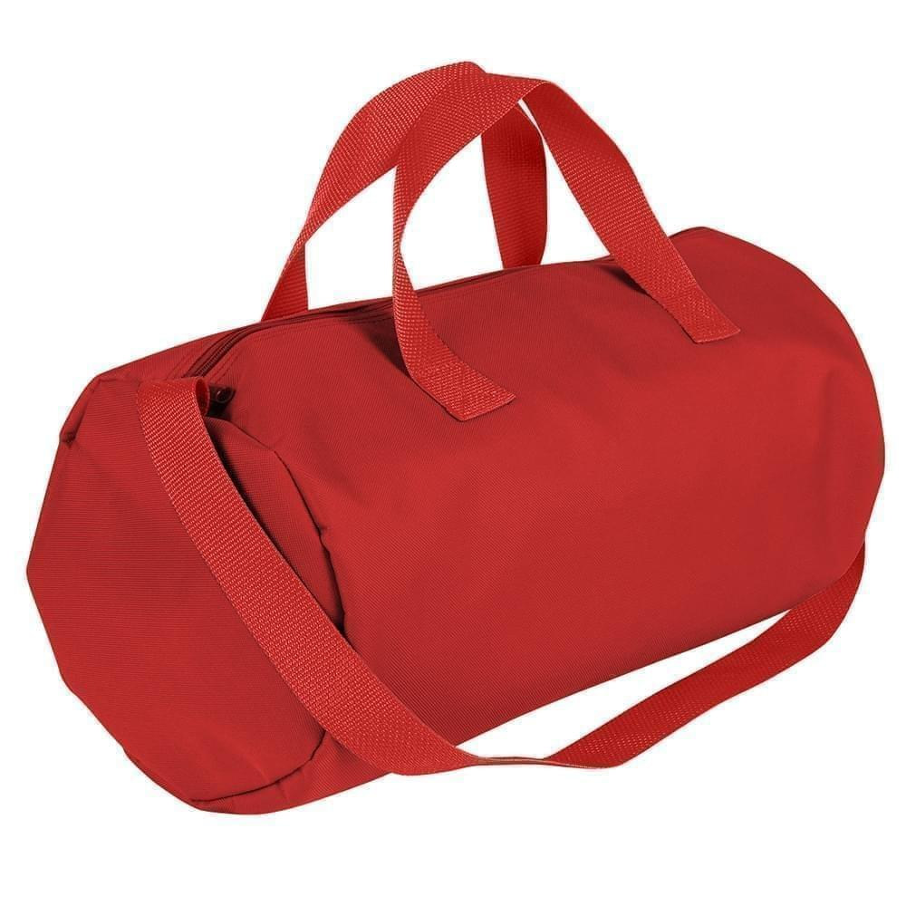 USA Made Nylon Poly Gym Roll Bags, Red-Red, ROCX31AAZ2