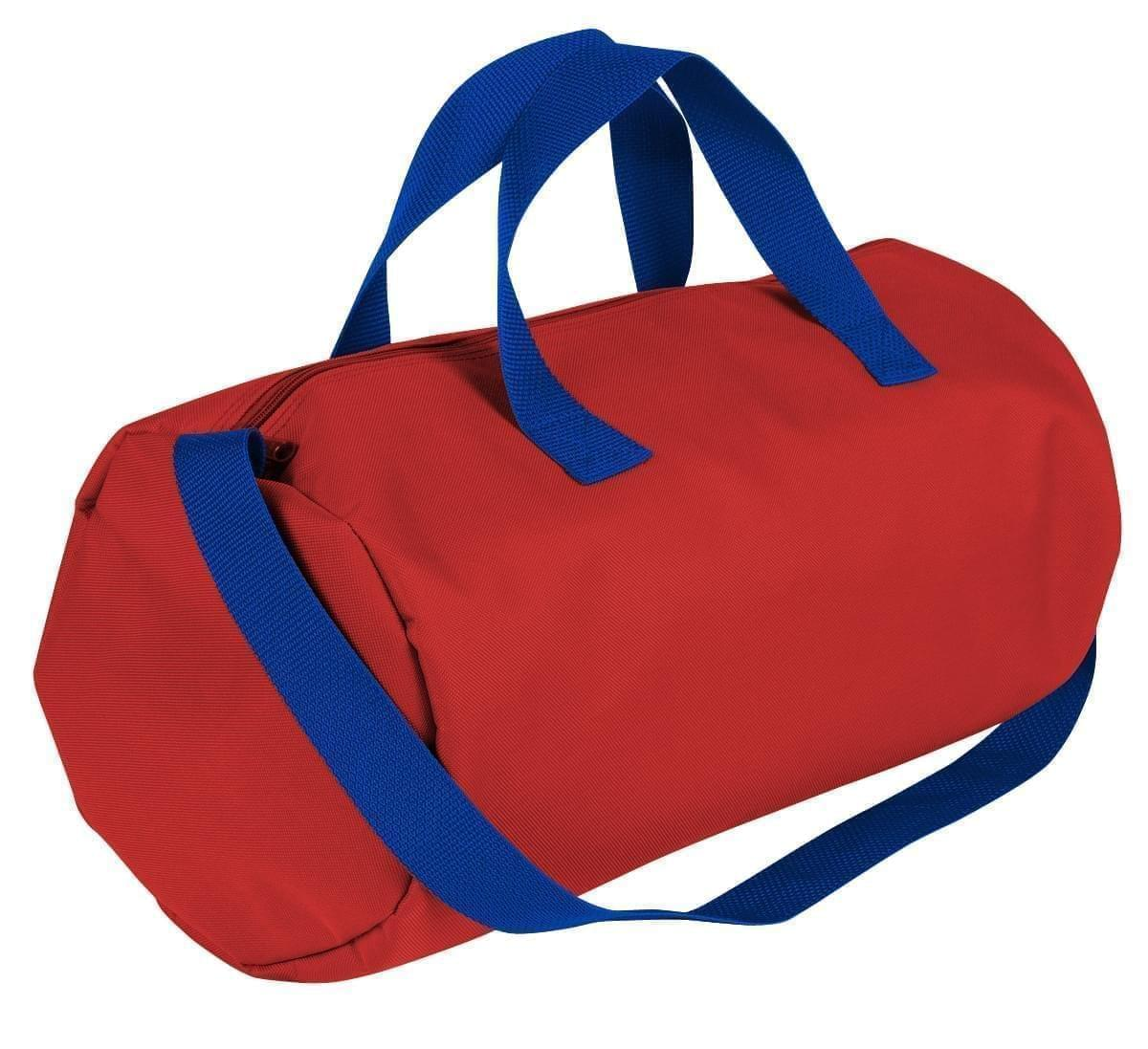 USA Made Nylon Poly Gym Roll Bags, Red-Royal Blue, ROCX31AAZ3